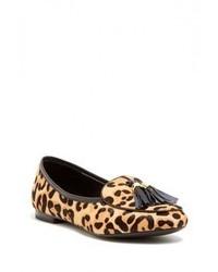 Mocassins à pampilles en daim imprimés léopard bruns clairs