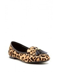 Mocassins à pampilles en daim imprimés léopard marron clair