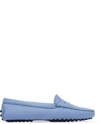 Mocassins en cuir bleu clair