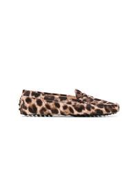 Mocassins en daim imprimés léopard bruns clairs Tod's