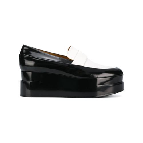 Mocassins plateforme en cuir noirs et blancs Clergerie