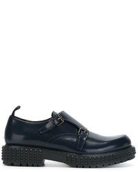 Monks en cuir bleu marine