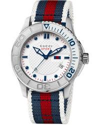 Montre à rayures horizontales blanc et rouge et bleu marine