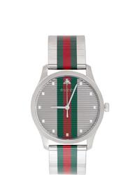Montre à rayures horizontales vert et rouge Gucci