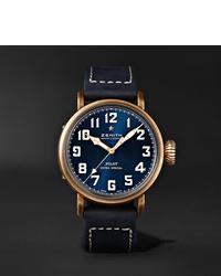Montre en cuir bleu marine Zenith