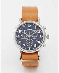 Montre en cuir brun Timex