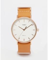 Montre en cuir marron clair Timex