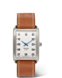 Montre en cuir marron clair Tom Ford Timepieces
