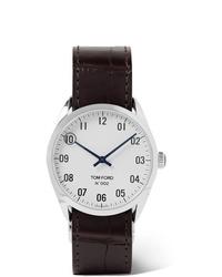 Montre en cuir marron foncé Tom Ford Timepieces