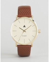 Montre en cuir marron Asos