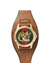 Montre en cuir marron Gucci