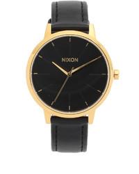 Montre en cuir noire et dorée Nixon