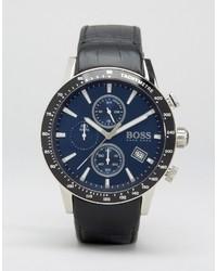 Montre en cuir noire Hugo Boss