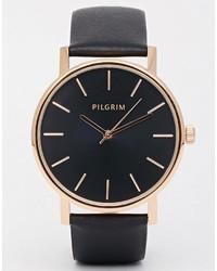 Montre en cuir noire Pilgrim