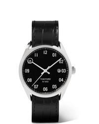 Montre en cuir noire Tom Ford Timepieces