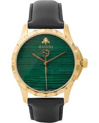 Montre en cuir vert foncé Gucci