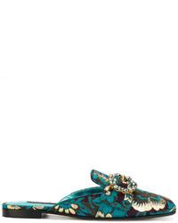 Mules en cuir bleu canard Dolce & Gabbana