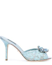 Mules en cuir bleu clair Dolce & Gabbana