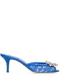 Mules en cuir bleues Dolce & Gabbana