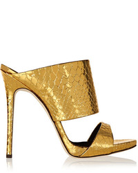 Mules en cuir dorées