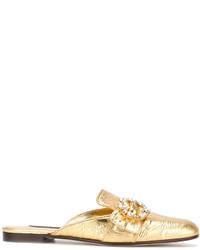 Mules en cuir dorées Dolce & Gabbana