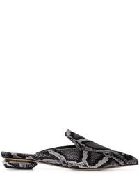 Mules en cuir imprimées serpent grises Nicholas Kirkwood
