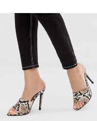 Mules en cuir imprimées serpent marron clair Missguided