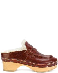 Mules en cuir marron MM6 MAISON MARGIELA
