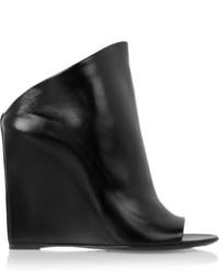 Mules en cuir noires Balenciaga