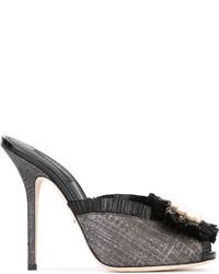 Mules en cuir noires Dolce & Gabbana