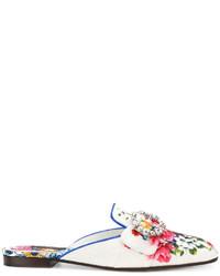 Mules en cuir ornées blanches Dolce & Gabbana