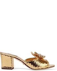 Mules en cuir ornées dorées Dolce & Gabbana
