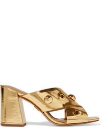 Mules en cuir ornées dorées Michael Kors