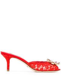 Mules en cuir rouges Dolce & Gabbana