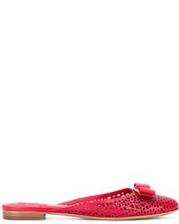 Mules en cuir rouges Salvatore Ferragamo