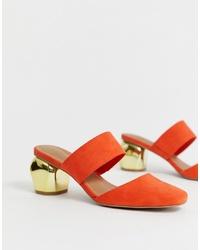 Mules en daim orange ASOS DESIGN
