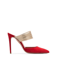 Mules en daim rouges Aquazzura