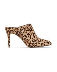 Mules en poils de veau imprimées léopard marron clair