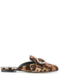 Mules imprimées marron foncé Dolce & Gabbana