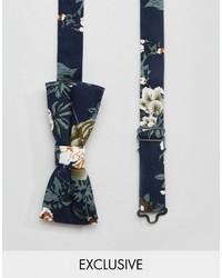 Nœud papillon à fleurs bleu marine Reclaimed Vintage