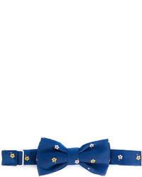 Nœud papillon en soie à fleurs bleu fe-fe