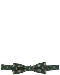 Nœud papillon en soie imprimé vert foncé Dolce & Gabbana