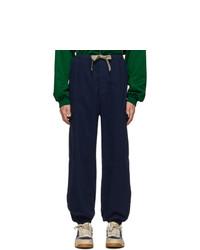 Pantalon cargo à chevrons bleu marine Gucci