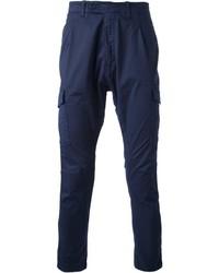 Pantalon cargo bleu marine Paolo Pecora