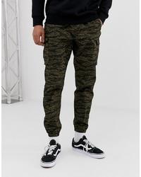 Pantalon cargo camouflage olive Pull&Bear