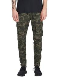 Pantalon cargo camouflage vert foncé