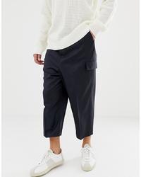 Pantalon cargo en laine bleu marine