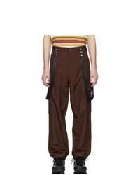 Pantalon cargo en laine marron foncé