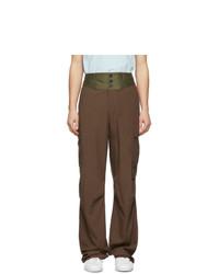 Pantalon cargo en laine marron Lanvin