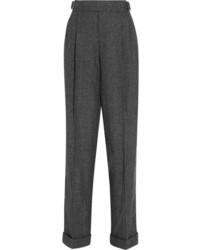 Pantalon carotte à carreaux gris foncé